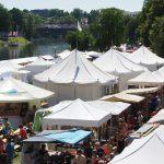 Verschillende tenten waaronder pagodetent en partytent